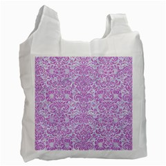 Damask2 White Marble & Purple Colored Pencil (r) Recycle Bag (two Side)  by trendistuff
