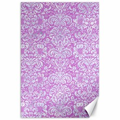 Damask2 White Marble & Purple Colored Pencil Canvas 20  X 30   by trendistuff