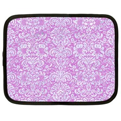 Damask2 White Marble & Purple Colored Pencil Netbook Case (xl)  by trendistuff