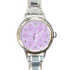 Damask1 White Marble & Purple Colored Pencil (r) Round Italian Charm Watch by trendistuff
