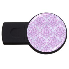 Damask1 White Marble & Purple Colored Pencil (r) Usb Flash Drive Round (2 Gb) by trendistuff