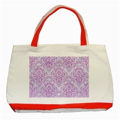 Damask1 White Marble & Purple Colored Pencil (r) Classic Tote Bag (red) by trendistuff