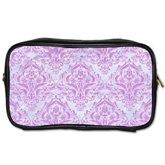 Damask1 White Marble & Purple Colored Pencil (r) Toiletries Bags 2 Side by trendistuff