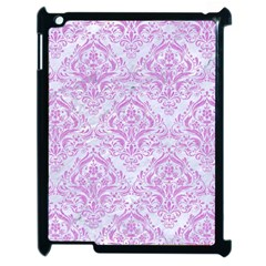 Damask1 White Marble & Purple Colored Pencil (r) Apple Ipad 2 Case (black) by trendistuff