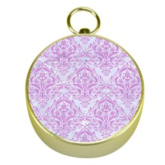 Damask1 White Marble & Purple Colored Pencil (r) Gold Compasses by trendistuff