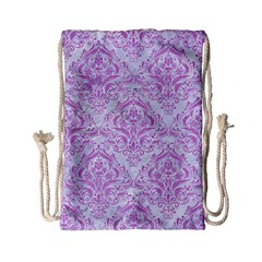 Damask1 White Marble & Purple Colored Pencil (r) Drawstring Bag (small) by trendistuff