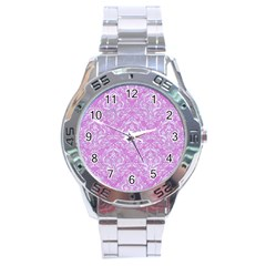Damask1 White Marble & Purple Colored Pencil Stainless Steel Analogue Watch