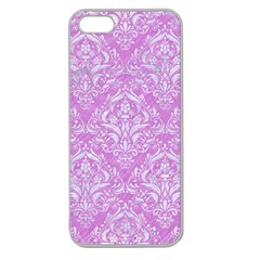 Damask1 White Marble & Purple Colored Pencil Apple Seamless Iphone 5 Case (clear) by trendistuff