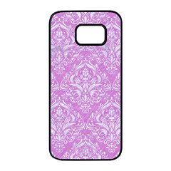Damask1 White Marble & Purple Colored Pencil Samsung Galaxy S7 Edge Black Seamless Case by trendistuff
