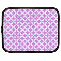 Circles3 White Marble & Purple Colored Pencil Netbook Case (large) by trendistuff