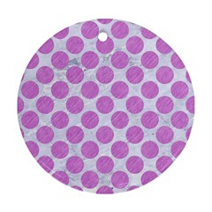 Circles2 White Marble & Purple Colored Pencil (r) Round Ornament (two Sides) by trendistuff