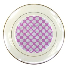 Circles2 White Marble & Purple Colored Pencil Porcelain Plates by trendistuff
