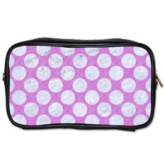 Circles2 White Marble & Purple Colored Pencil Toiletries Bags 2 Side by trendistuff