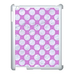Circles2 White Marble & Purple Colored Pencil Apple Ipad 3/4 Case (white) by trendistuff