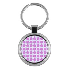Circles1 White Marble & Purple Colored Pencil (r) Key Chains (round)  by trendistuff