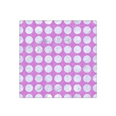 Circles1 White Marble & Purple Colored Pencil Satin Bandana Scarf by trendistuff
