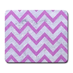 Chevron9 White Marble & Purple Colored Pencil (r) Large Mousepads by trendistuff
