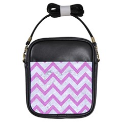 Chevron9 White Marble & Purple Colored Pencil (r) Girls Sling Bags by trendistuff