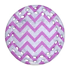 Chevron9 White Marble & Purple Colored Pencil (r) Ornament (round Filigree) by trendistuff