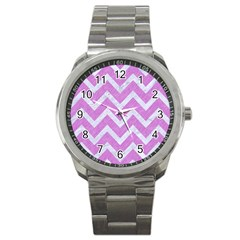 Chevron9 White Marble & Purple Colored Pencil Sport Metal Watch by trendistuff