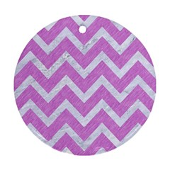 Chevron9 White Marble & Purple Colored Pencil Round Ornament (two Sides) by trendistuff