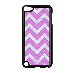 Chevron9 White Marble & Purple Colored Pencil Apple Ipod Touch 5 Case (black) by trendistuff