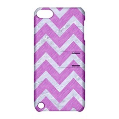 Chevron9 White Marble & Purple Colored Pencil Apple Ipod Touch 5 Hardshell Case With Stand