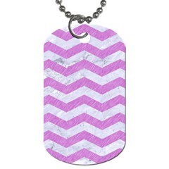 Chevron3 White Marble & Purple Colored Pencil Dog Tag (two Sides) by trendistuff