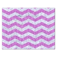 Chevron3 White Marble & Purple Colored Pencil Rectangular Jigsaw Puzzl by trendistuff
