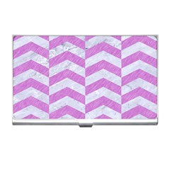 Chevron2 White Marble & Purple Colored Pencil Business Card Holders by trendistuff