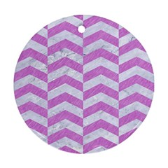 Chevron2 White Marble & Purple Colored Pencil Round Ornament (two Sides) by trendistuff