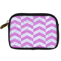 Chevron2 White Marble & Purple Colored Pencil Digital Camera Cases by trendistuff