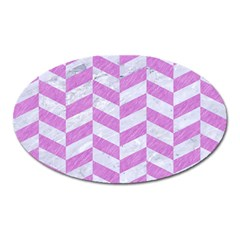 Chevron1 White Marble & Purple Colored Pencil Oval Magnet by trendistuff