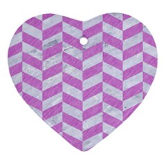 Chevron1 White Marble & Purple Colored Pencil Heart Ornament (two Sides) by trendistuff