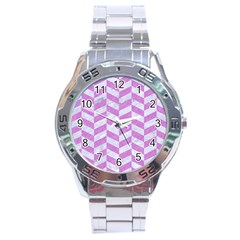 Chevron1 White Marble & Purple Colored Pencil Stainless Steel Analogue Watch