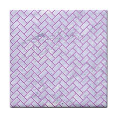 Brick2 White Marble & Purple Colored Pencil (r) Tile Coasters by trendistuff