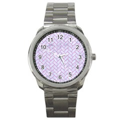 Brick2 White Marble & Purple Colored Pencil (r) Sport Metal Watch by trendistuff