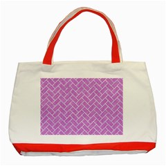 Brick2 White Marble & Purple Colored Pencil Classic Tote Bag (red) by trendistuff