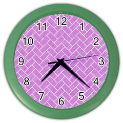 Brick2 White Marble & Purple Colored Pencil Color Wall Clocks by trendistuff