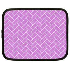 Brick2 White Marble & Purple Colored Pencil Netbook Case (xxl)  by trendistuff