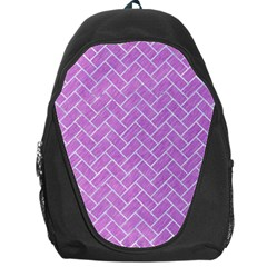 Brick2 White Marble & Purple Colored Pencil Backpack Bag by trendistuff
