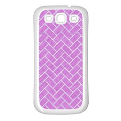 Brick2 White Marble & Purple Colored Pencil Samsung Galaxy S3 Back Case (white) by trendistuff