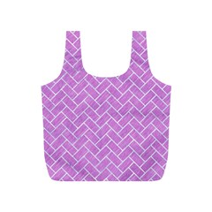 Brick2 White Marble & Purple Colored Pencil Full Print Recycle Bags (s)  by trendistuff