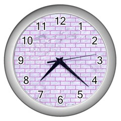 Brick1 White Marble & Purple Colored Pencil (r) Wall Clocks (silver)  by trendistuff