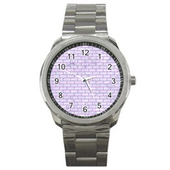 Brick1 White Marble & Purple Colored Pencil (r) Sport Metal Watch by trendistuff