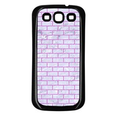 Brick1 White Marble & Purple Colored Pencil (r) Samsung Galaxy S3 Back Case (black) by trendistuff