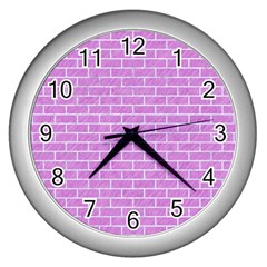 Brick1 White Marble & Purple Colored Pencil Wall Clocks (silver)  by trendistuff