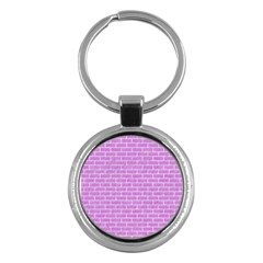 Brick1 White Marble & Purple Colored Pencil Key Chains (round)  by trendistuff