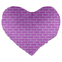 Brick1 White Marble & Purple Colored Pencil Large 19  Premium Flano Heart Shape Cushions by trendistuff