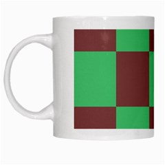 Background Checkers Squares Tile White Mugs